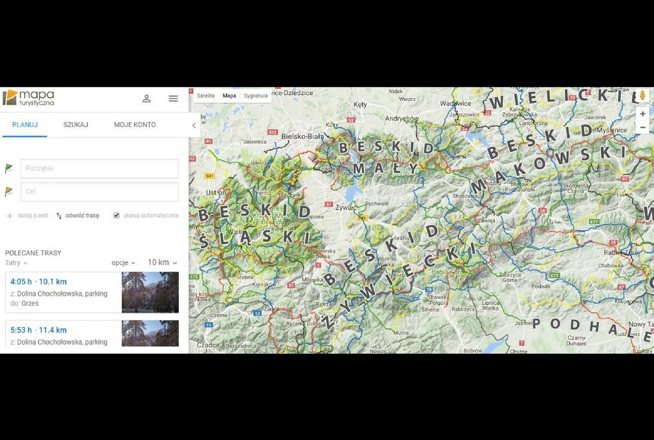 Planowanie trasy w górach za pomocą aplikacji MAPA TURYSTYCZNA