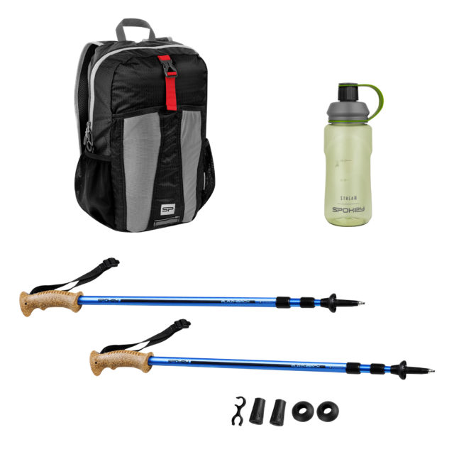 FLASHBACK + HIDDEN PEAK + STREAM - Zestaw: kije trekkingowe, plecak składany i bidon 0,5 l